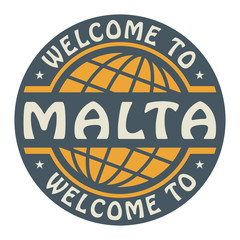 Color stamp with text Welcome to Malta inside