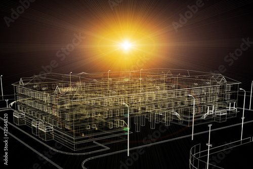 canvas print picture Wire-frame buildings with light on dark background