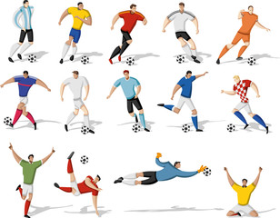 Soccer players kicking ball. Football players.