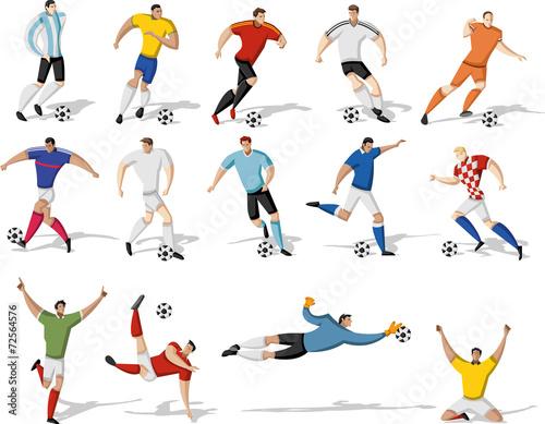 Zdjęcia na płótnie, fototapety, obrazy : Soccer players kicking ball. Football players.