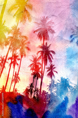 Papiers peints Palmier watercolor silhouettes of palm trees