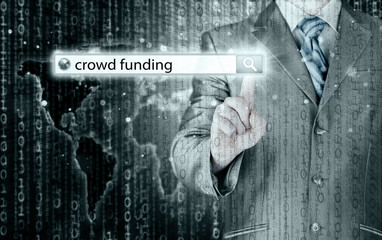 Businessman and crowd funding in search bar