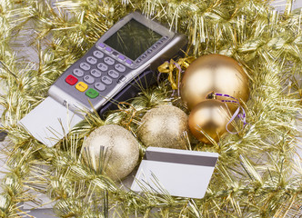 Business Christmas of payment terminal, credit Cards, balls,