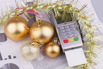 Business Christmas of a tables, payment terminal, credit Cards,