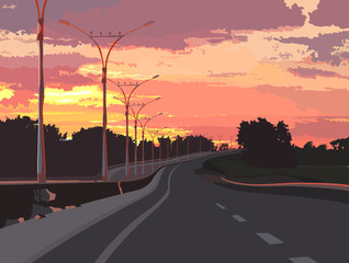 highway on a background of pink sunset