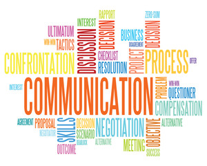 Communication concept in word tag cloud isolated
