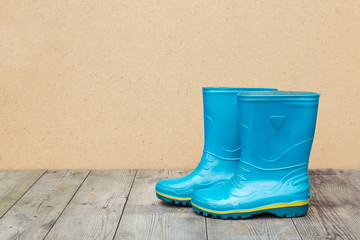 Blue rubber boots on a wooden floor