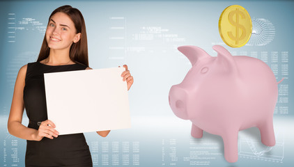 Businesswoman hold paper sheet. Pink piggy bank with gold coin