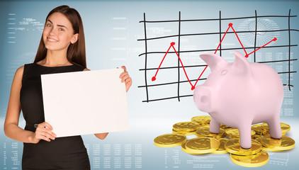 Businesswoman hold paper sheet. Pink piggy bank standing on gold