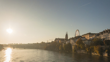 Basel, Altstadt, Rhein, Münster, Morgenstimmung, Herbst, Schweiz