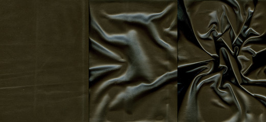 Set of black leather textures