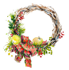 watercolor wreath. Christmas decoration.