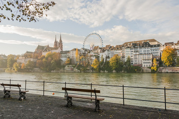 Basel, Altstadt, Rhein, Münster, Rheinweg, Herbst, Schweiz