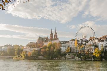 Basel, Altstadt, Altstadthäuser, Münster, Rhein, Herbst, Schweiz
