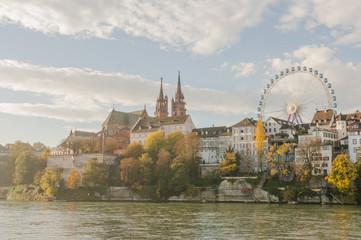 Basel, Altstadt, Münster, Altstadthäuser, Herbst, Rhein, Schweiz