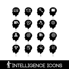 Head brain icons set10