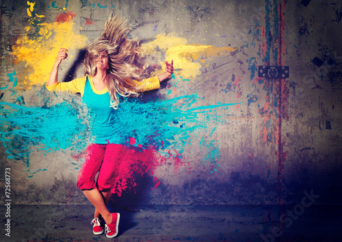 Fotobehang Dans dancing girl with color splashes - movin 04