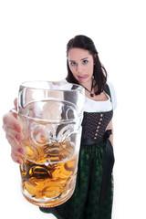 Frau im Dirndl mit Bier Krug und 2 Promille