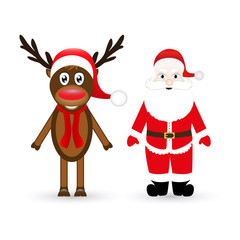 Christmas reindeer and Santa Claus