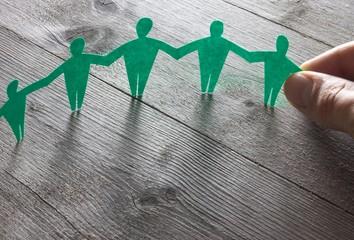 Teamarbeit / Solidarität Konzept - Menschenkette