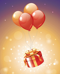 Luxury gift hanging on red balloons with magic lights
