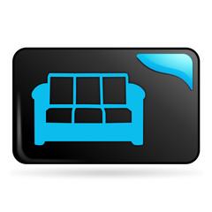 canapé sur bouton web rectangle bleu