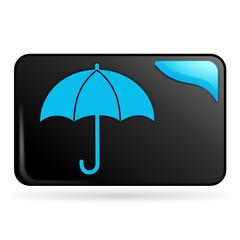 parapluie sur bouton web rectangle bleu