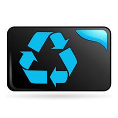 recyclage sur bouton web rectangle bleu
