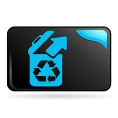 recycler sur bouton web rectangle bleu