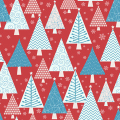 Winter forest - vector seamless pattern
