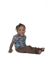 Happy toddler isolated on a white background