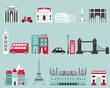 Symbols of famous cities. Vector