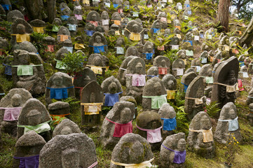 Thousands statues of Jizo, the guardian monk