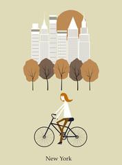 Girl on a bicykle. Vector