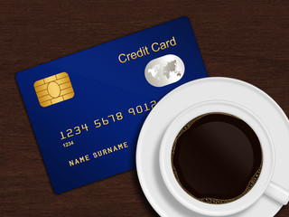 white cup of coffee with blue credit card