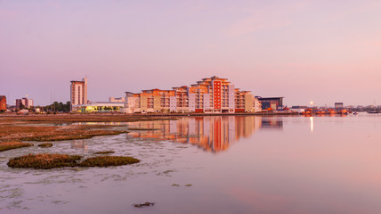 Poole skyline at sunset