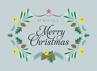 Vector retro christmas card with elements and illustrations