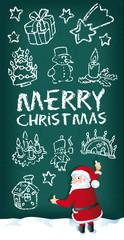 Weihnachtsmann malt Merry Cristmas und Doodles