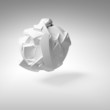 Abstract 3d object, white big flying chaotic fragmented shape wi