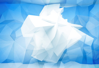 Blue abstract 3d background with chaotic polygonal structure on