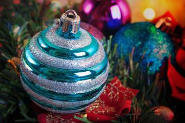 Blue decorative Christmas baubles
