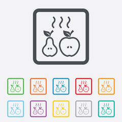 Apple and pear icon. Baked hot fruits symbol.