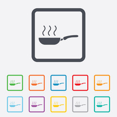 Frying pan sign icon. Fry or roast food symbol.