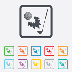 Golf fireball with club sign icon. Sport symbol.