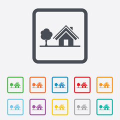 Home sign icon. House with tree symbol.