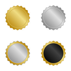 gold and silver blank labels set