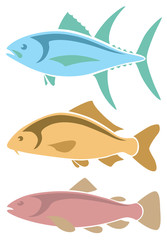 icons tuna, carp , trout