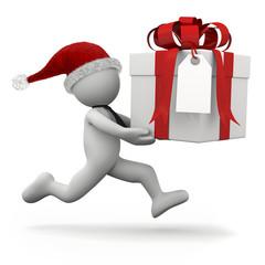 omino bianco che corre con pacco regalo grande