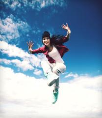 beautiful dancing girl jumping