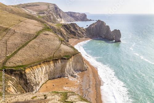 Poster Dorset coast, England, overlooking Durdle Door